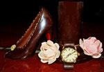 Schokoladen High Heel / schokoladen Peony / Schokoladen Uhr