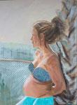 """""""glücklich schwanger - Michaela 50 x 70, Acryl, Andrea Meßmer; 700 € , verkauft"""