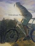 Mountainbiker, Acrylbild Andrea Meßmer, -verkauft-