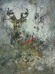 Verkauft. Hirsch im Wald, Acrylbild Andrea Meßmer