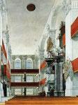 Nach dem Befreiungskrieg wurden in der Potsdamer Garnisonskirche, hier ein Bild von 1840, die Fahnen der besiegten Franzosen, darunter auch die von Husar Timm erbeutete Trophäe aufgehängt.