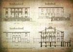 Grundrisse der Semper-Villa in Dresden, ab 1867 Zuhause des ehemaligfen Husarenkommandeurs.