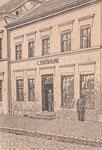 Die Brünslowsche Hofbuchhandlung in Neubrandenburg, wie sie 1875 bis 1879 aussah.