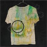 「cage」 アクリル、色鉛筆、墨、パネルに綿布 69.7×69.7㎝