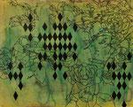 「satellite」 アクリル、色鉛筆、墨、パネルに紙 22.0×27.3㎝