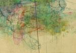 「オオカミ」 アクリル、色鉛筆、墨、パネルに紙 45.5×65.2㎝