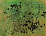 「右の肺」 アクリル、色鉛筆、墨、パネルに紙 14.0×18.0㎝