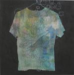 「sanitarium,seam」 アクリル、色鉛筆、墨、パネルに綿布 69.7×69.7㎝