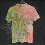 「sleep」 アクリル、色鉛筆、墨、パネルに綿布 69.7×69.7㎝