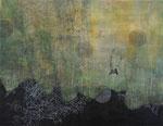「vertigo」 アクリル、色鉛筆、墨、パネルに綿布 112.0×145.5㎝