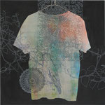 「EXIT」 アクリル、色鉛筆、墨、パネルに綿布 69.7×69.7㎝