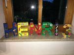 Jetzt auch fertig: Die Buchstaben für den Kindergeburtstag - eine Auftragsarbeit.