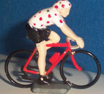 Cycliste métal Maillot blanc à pois rouges CHAMPION  années 90