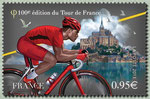 Le maillot rouge du plus combatif devant le Mont-Saint-Michel