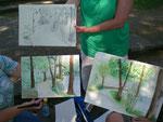 Aquarelle und Zeichnung der Teilnehmerinnen