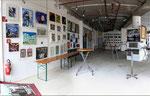 Ausstellungsaufbau (Meine Zeichnung befindet sich links unten)