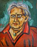 Der Mann mit dem türkisen Medaillon (Bildnis Helmuth Gräff), Öl auf Hartfaserplatte, 50x40 cm, 2009