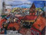 Ansicht Pulkau, Tusche/Wasserfarben, 2002