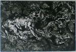 Druckgrafik.  Löwenkampf nacheinem Gemälde von Delacroix