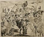 NICHT MEHR ERHÄLTLICH   Druckgrafik. Mittelalterliche Schlachtenszenerie, 21x28 cm