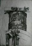 Windmühlenantrieb (Retz), Bleistiftzeichnung, 2003