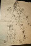 Weibliche Akte, Bleistiftzeichnung, 125x90 cm