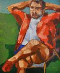 ÜBERMALT   Papa im Garten sitzend, 90x75 cm, 2005