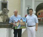 Andreas Bardeau und der Künstler Matthias Laurenz Gräff vor Schloss Kornberg