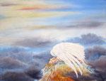 zwaar bewolkt, aquarel/pigment 50 x 70 cm