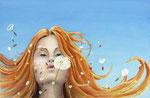 Liefdevol licht, aquarel met metaalfolie en iriserend medium, 33 x 51 cm