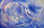 angels in the sky 1, aquarel met gesso en goudpoeder 25 x 34 cm