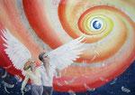 wij zijn allemaal engelen met één vleugel, aquarel/ gemengde techniek 50 x 70 cm