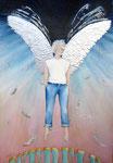 uit liefde voor een verloren wereld, aquarel/metaalfolie 34 x 52 cm