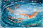 koikarpers 1, aquarel/zijdevloei/pigmenten 30 x 41,5 cm