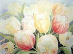 gele tulpen aquarel/cont'47 x 64 cm