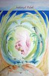 rafaël, aquarel/kleurpotlood/bladzilver 31 x 46,5 cm