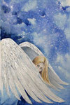 angels in the sky 2, aquarel met gesso en zilverpoeder 24 x 34 cm