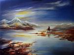avondschemering, artisan olieverf 80 x 100 cm