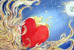 hart, aquarel met goudfolie 32,5 x 44,5 cm