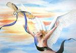 vrijheid in verbondenheid, aquarel/metaalfolie 50 x 70 cm
