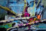 Lagerfeuer , Acryl auf Leinen, 90 x 140 cm