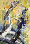 Tanz der Äste, Acryl auf Jute, 140x95 cm