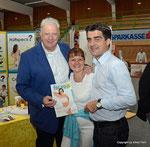 Edi Finger jun, Sylvia Skricik von Shapeline und Bürgermeister Christian Gepp beim 2. Korneuburger Sport- und Gesundheitstag