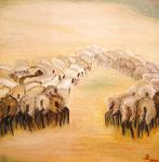 Schäfer mit Herde, Öl auf Leinwand, 1 x 80/80, Barbara Rank, 350 Euro