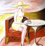 Le Café, Öl auf Leinwand, 90/90 cm, Vivian Wieling, 390 Euro