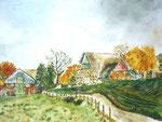 Bauernhof, Aquarell, ca. DIN A 4, Barbara Rank, 150 Euro