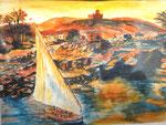 Nil, Aquarell, ca. DIN A 4, Barbara Rank, 150 Euro