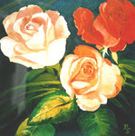 Rosen IV, Öl auf Leinwand, 50/50 cm, Barbara Rank, 280 Euro
