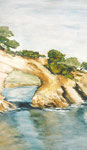 Küste, Aquarell, ca. DIN A 4, Barbara Rank, 130 Euro
