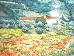 Landschaft I, Aquarell, ca. DIN A 4, Barbara Rank, 140 Euro